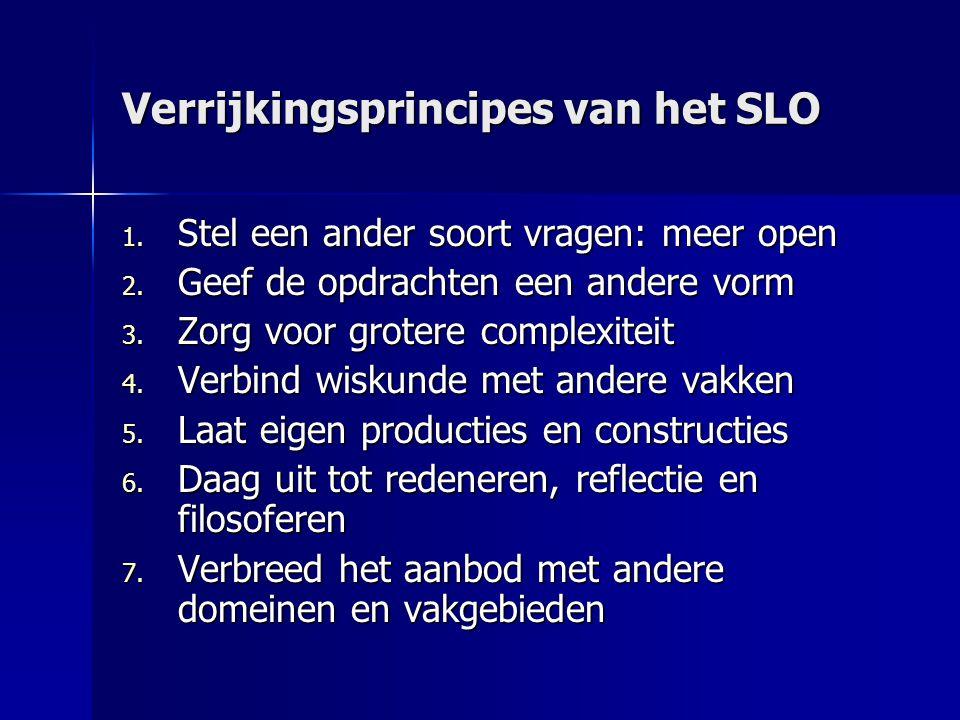 Verrijkingsprincipes van het SLO 1.Stel een ander soort vragen: meer open 2.
