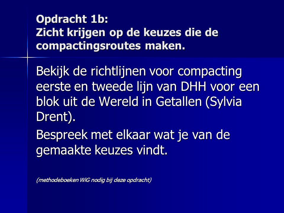Opdracht 1b: Zicht krijgen op de keuzes die de compactingsroutes maken. Bekijk de richtlijnen voor compacting eerste en tweede lijn van DHH voor een b