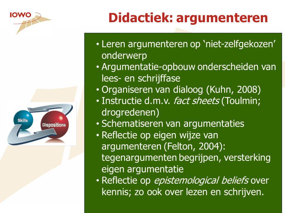 Didactiek: argumenteren Leren argumenteren op 'niet-zelfgekozen' onderwerp Argumentatie-opbouw onderscheiden van lees- en schrijffase Organiseren van