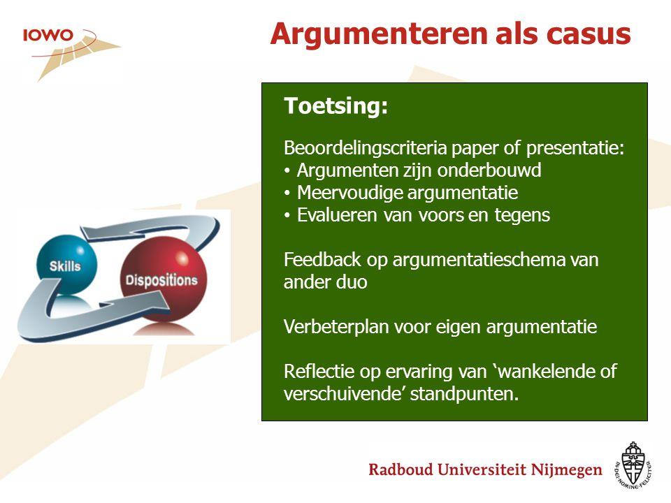 Argumenteren als casus Toetsing: Beoordelingscriteria paper of presentatie: Argumenten zijn onderbouwd Meervoudige argumentatie Evalueren van voors en