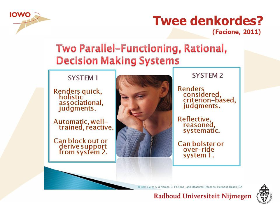 Twee denkordes? (Facione, 2011)