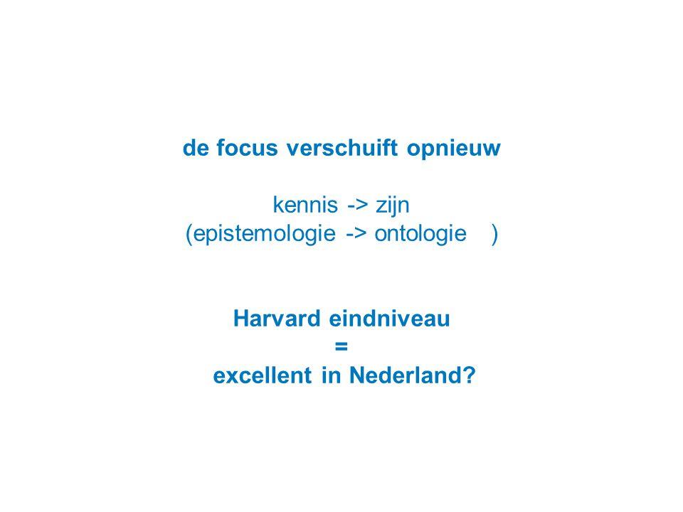 de focus verschuift opnieuw kennis -> zijn (epistemologie -> ontologie…) Harvard eindniveau = excellent in Nederland?