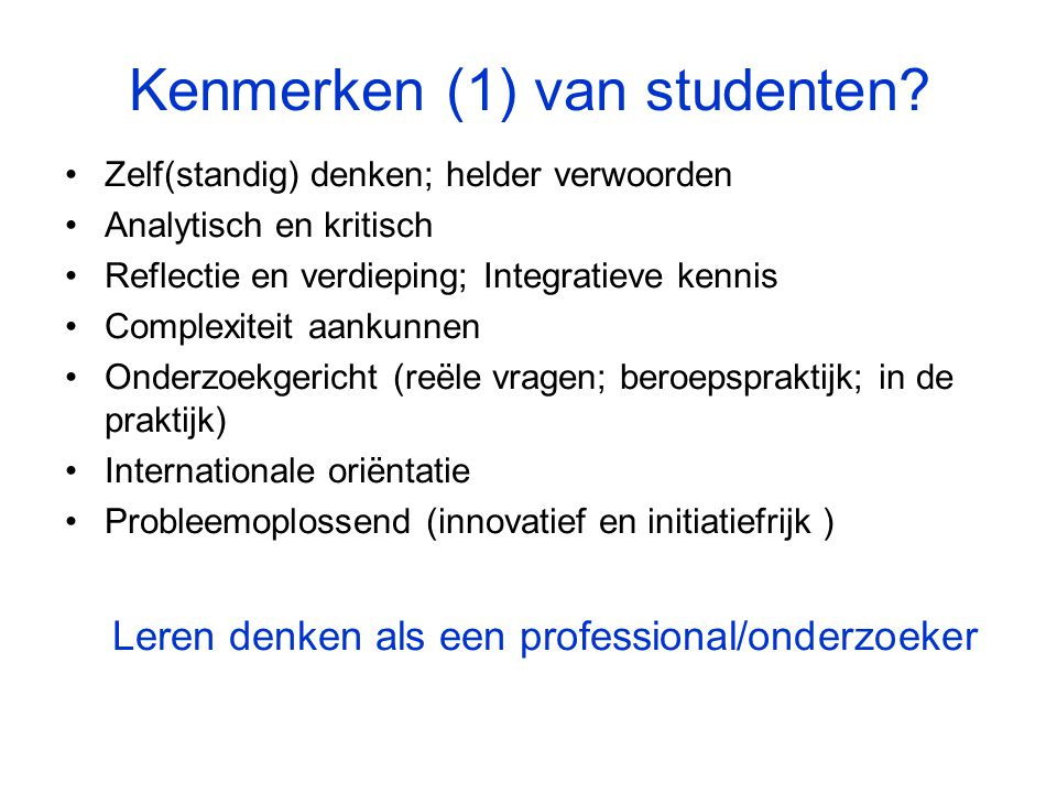 Kenmerken (1) van studenten.