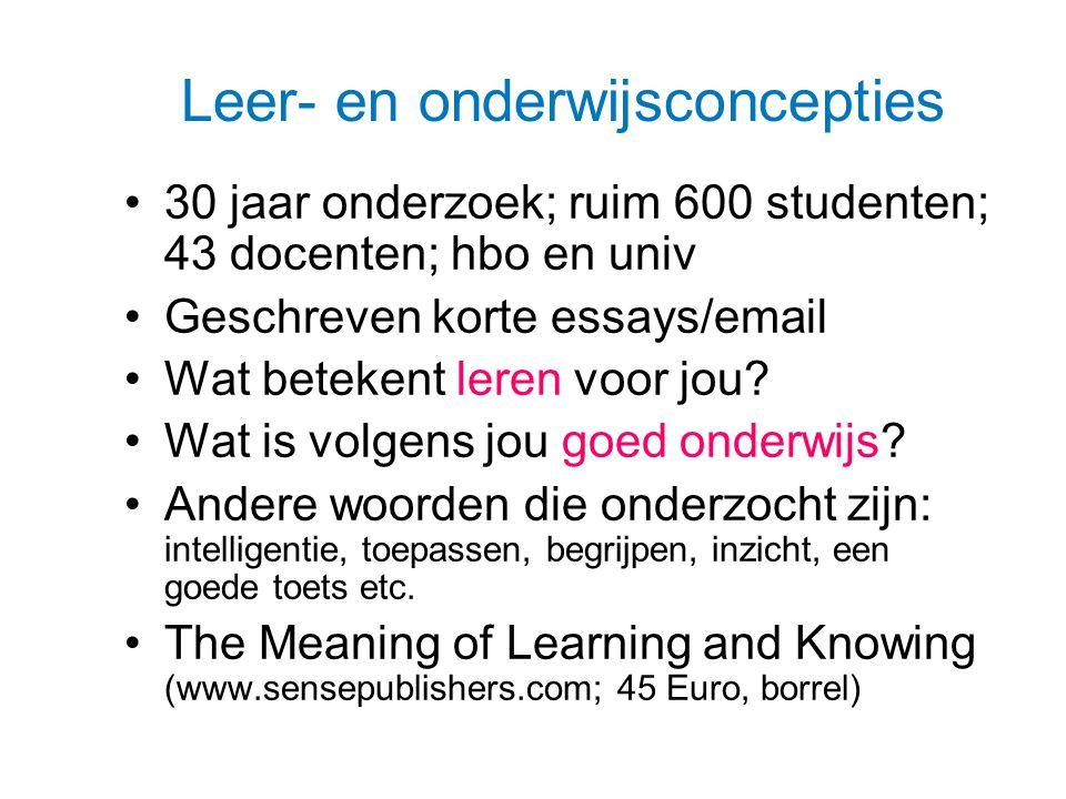 Leer- en onderwijsconcepties 30 jaar onderzoek; ruim 600 studenten; 43 docenten; hbo en univ Geschreven korte essays/email Wat betekent leren voor jou.