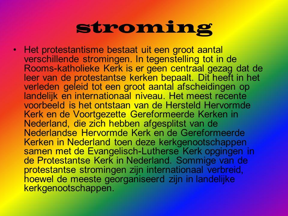 stroming Het protestantisme bestaat uit een groot aantal verschillende stromingen.