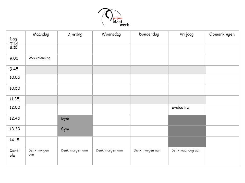 Week: Dag Tijd MaandagDinsdagWoensdagDonderdagVrijdagOpmerkingen 8.15 9.00 Weekplanning 9.45 10.05 10.50 11.35 12.00 Evaluatie 12.45 Gym 13.30 Gym 14.