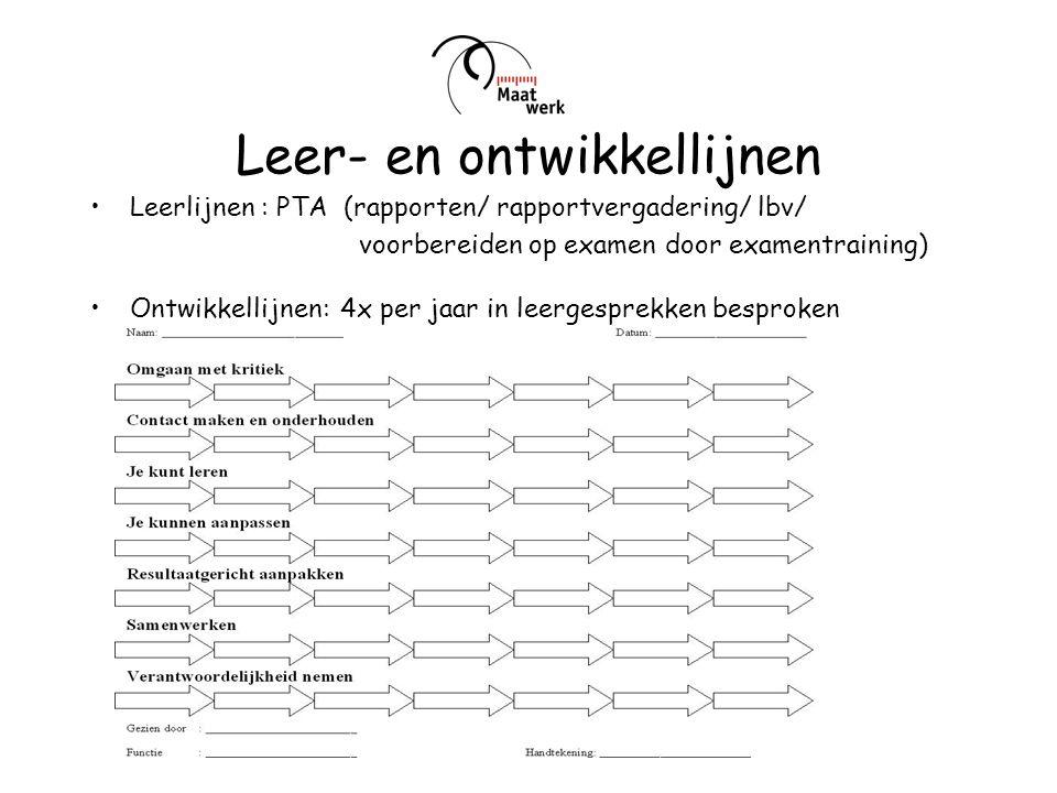 Leer- en ontwikkellijnen Leerlijnen : PTA (rapporten/ rapportvergadering/ lbv/ voorbereiden op examen door examentraining) Ontwikkellijnen: 4x per jaa