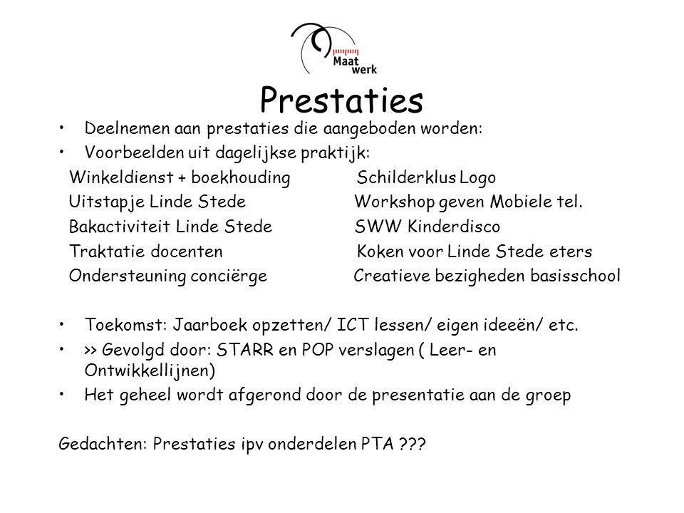 Prestaties Deelnemen aan prestaties die aangeboden worden: Voorbeelden uit dagelijkse praktijk: Winkeldienst + boekhouding Schilderklus Logo Uitstapje