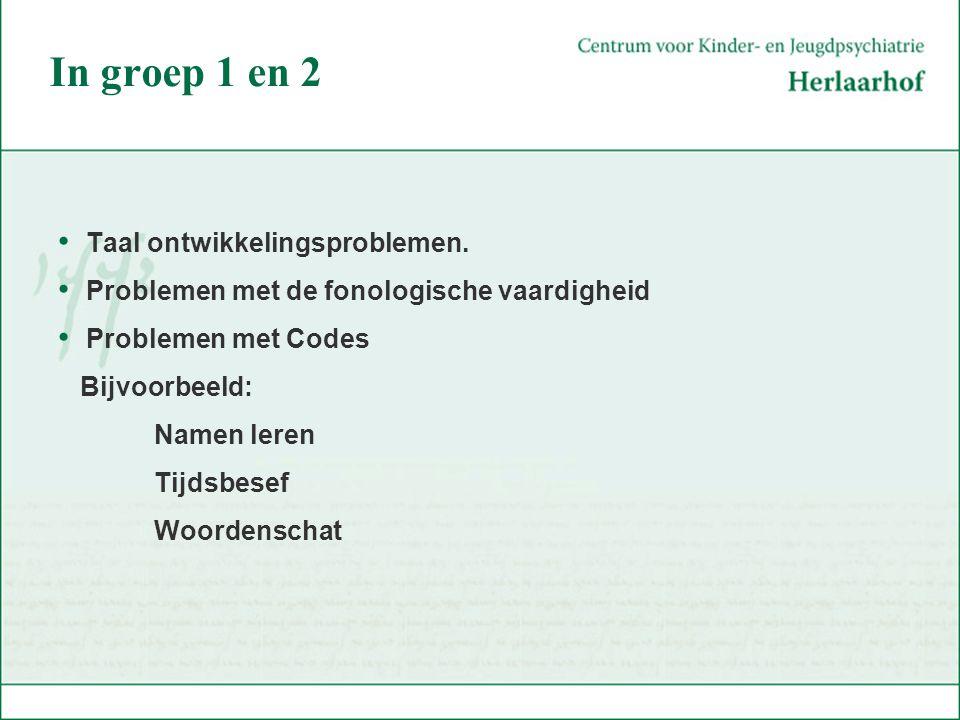 In groep 1 en 2 Taal ontwikkelingsproblemen. Problemen met de fonologische vaardigheid Problemen met Codes Bijvoorbeeld: Namen leren Tijdsbesef Woorde