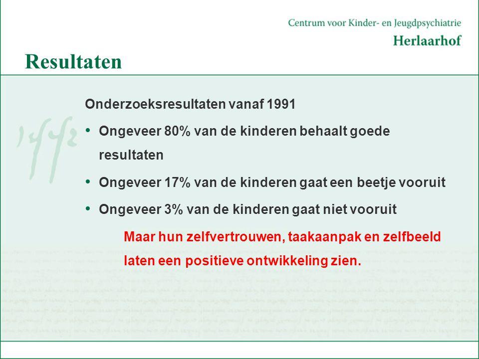 Resultaten Onderzoeksresultaten vanaf 1991 Ongeveer 80% van de kinderen behaalt goede resultaten Ongeveer 17% van de kinderen gaat een beetje vooruit