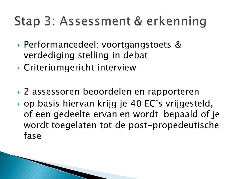  Performancedeel: voortgangstoets & verdediging stelling in debat  Criteriumgericht interview  2 assessoren beoordelen en rapporteren  op basis hi