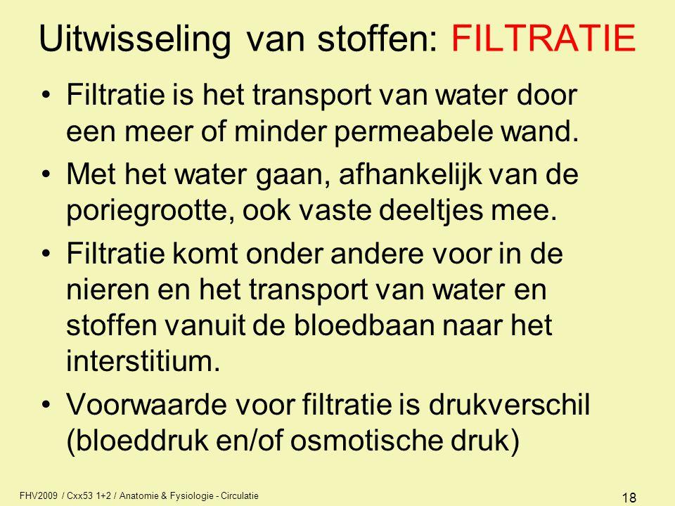 FHV2009 / Cxx53 1+2 / Anatomie & Fysiologie - Circulatie 18 Uitwisseling van stoffen: FILTRATIE Filtratie is het transport van water door een meer of