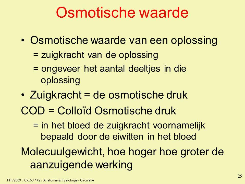 FHV2009 / Cxx53 1+2 / Anatomie & Fysiologie - Circulatie 29 Osmotische waarde Osmotische waarde van een oplossing = zuigkracht van de oplossing = onge