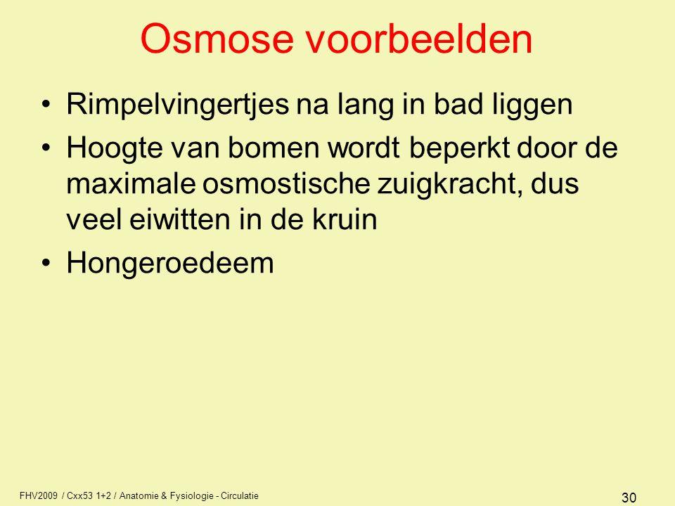 FHV2009 / Cxx53 1+2 / Anatomie & Fysiologie - Circulatie 30 Osmose voorbeelden Rimpelvingertjes na lang in bad liggen Hoogte van bomen wordt beperkt d
