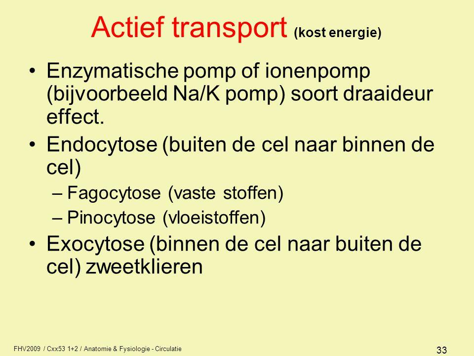 FHV2009 / Cxx53 1+2 / Anatomie & Fysiologie - Circulatie 33 Actief transport (kost energie) Enzymatische pomp of ionenpomp (bijvoorbeeld Na/K pomp) so