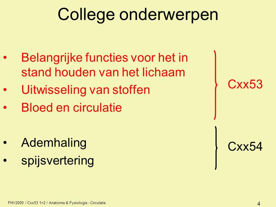 FHV2009 / Cxx53 1+2 / Anatomie & Fysiologie - Circulatie 4 College onderwerpen Belangrijke functies voor het in stand houden van het lichaam Uitwissel
