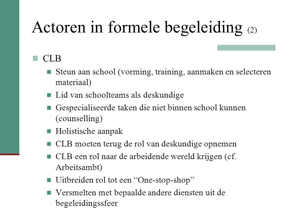 Actoren in formele begeleiding (2) CLB Steun aan school (vorming, training, aanmaken en selecteren materiaal) Lid van schoolteams als deskundige Gespe
