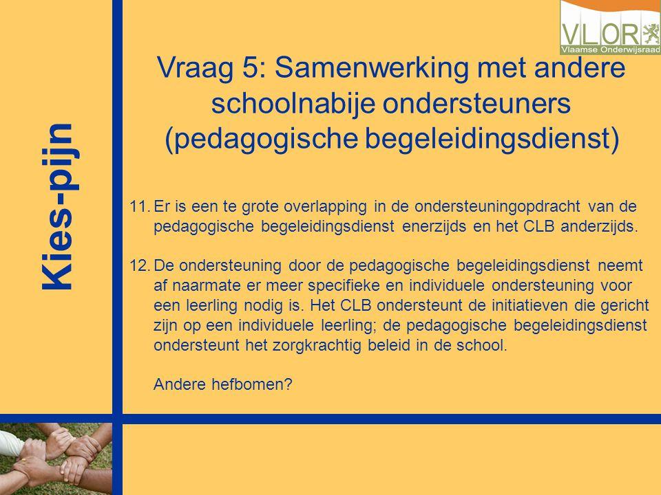 Kies-pijn Vraag 5: Samenwerking met andere schoolnabije ondersteuners (pedagogische begeleidingsdienst) 11.Er is een te grote overlapping in de onders