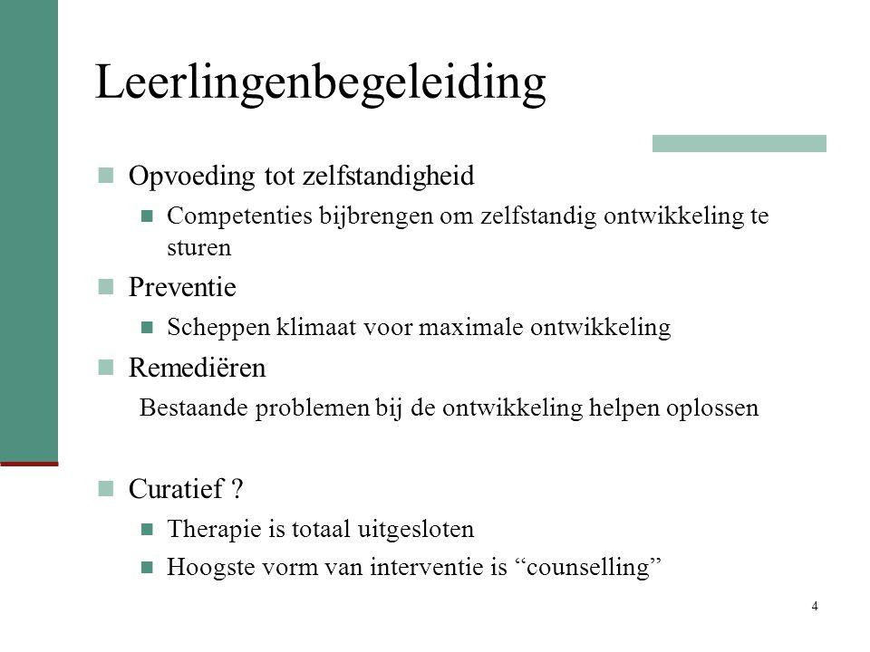 Conclusie Plaats van keuzebegeleiding in leerlingenbegeleiding Leerlingenbegeleiding vs.