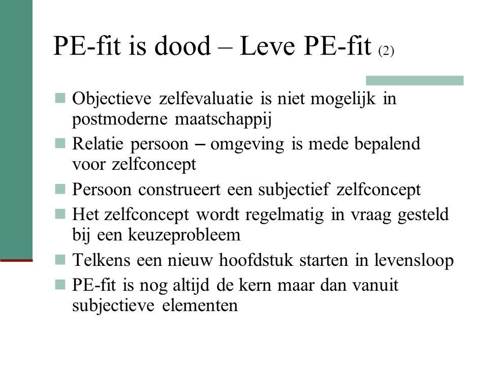 PE-fit is dood – Leve PE-fit (2) Objectieve zelfevaluatie is niet mogelijk in postmoderne maatschappij Relatie persoon – omgeving is mede bepalend voo