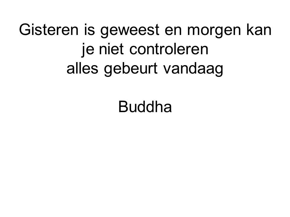 Gisteren is geweest en morgen kan je niet controleren alles gebeurt vandaag Buddha