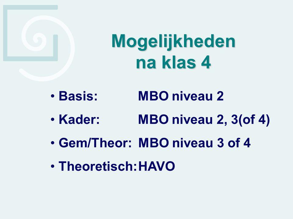 Basis: MBO niveau 2 Kader: MBO niveau 2, 3(of 4) Gem/Theor: MBO niveau 3 of 4 Theoretisch:HAVO Mogelijkheden na klas 4