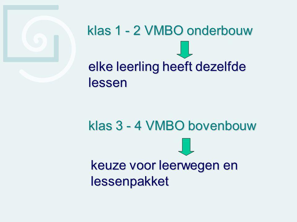 elke leerling heeft dezelfde lessen klas 3 - 4 VMBO bovenbouw klas 1 - 2 VMBO onderbouw keuze voor leerwegen en lessenpakket