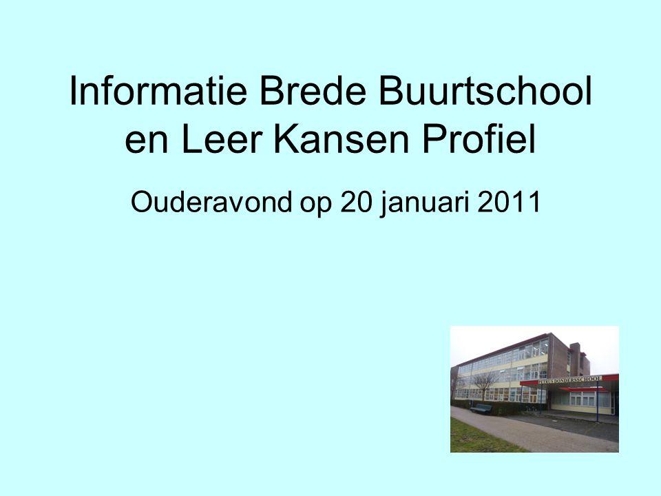 Informatie Brede Buurtschool en Leer Kansen Profiel Ouderavond op 20 januari 2011