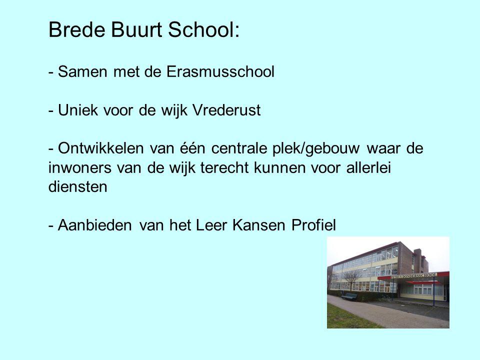 Brede Buurt School: - Samen met de Erasmusschool - Uniek voor de wijk Vrederust - Ontwikkelen van één centrale plek/gebouw waar de inwoners van de wij