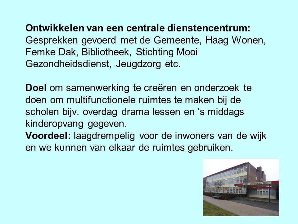 Ontwikkelen van een centrale dienstencentrum: Gesprekken gevoerd met de Gemeente, Haag Wonen, Femke Dak, Bibliotheek, Stichting Mooi Gezondheidsdienst
