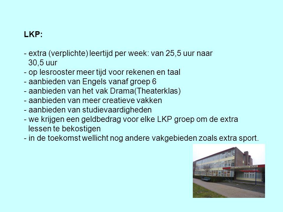 LKP: - extra (verplichte) leertijd per week: van 25,5 uur naar 30,5 uur - op lesrooster meer tijd voor rekenen en taal - aanbieden van Engels vanaf gr