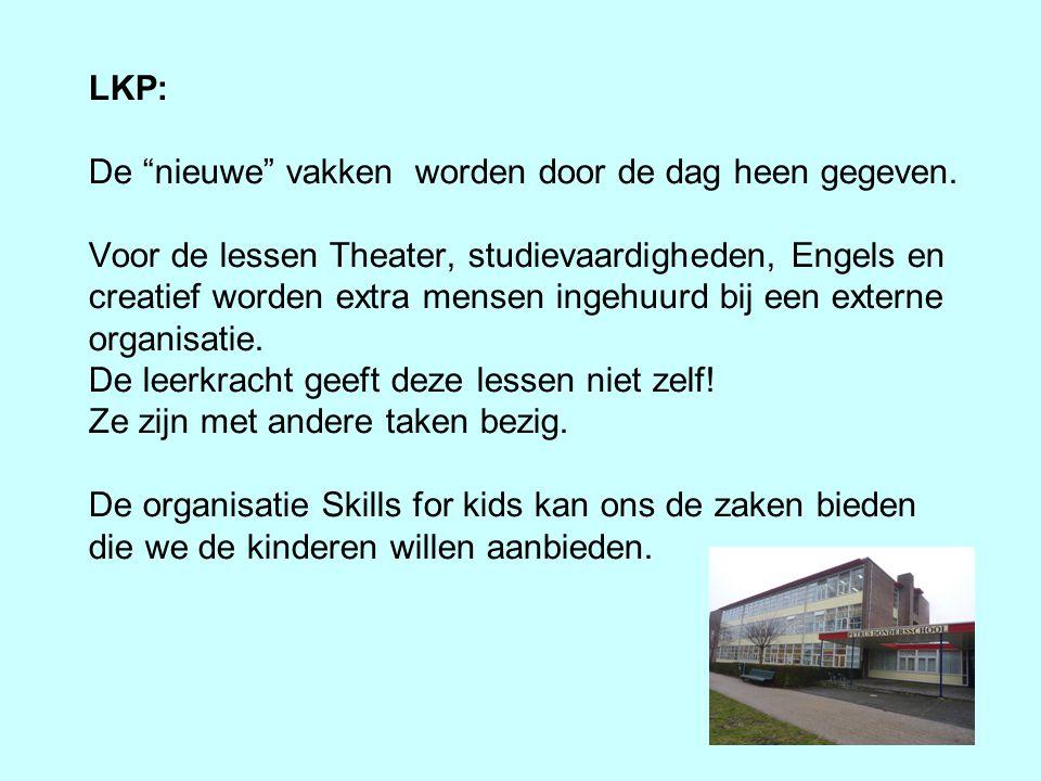 """LKP: De """"nieuwe"""" vakken worden door de dag heen gegeven. Voor de lessen Theater, studievaardigheden, Engels en creatief worden extra mensen ingehuurd"""