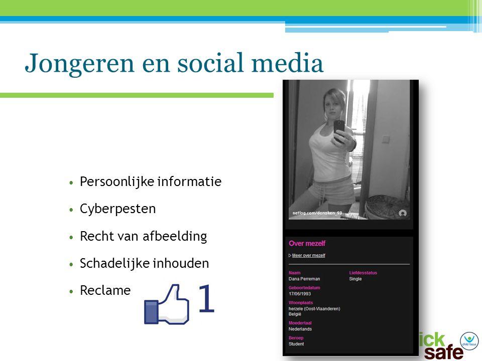 Jongeren en social media Persoonlijke informatie Cyberpesten Recht van afbeelding Schadelijke inhouden Reclame