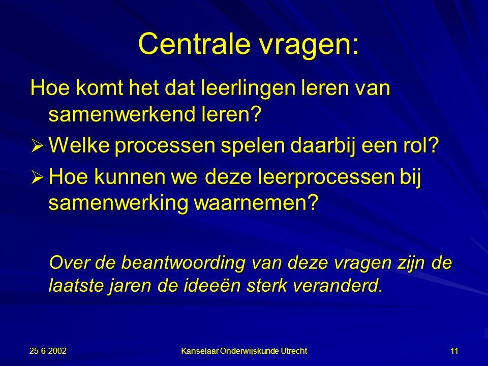 25-6-2002 Kanselaar Onderwijskunde Utrecht 10 Conclusie  PGO is een concept waarvan de vormgeving verder ontwikkeld moet worden: –Meer projectonderwijs dan probleemgestuurd –Meer zelfsturing door de groep (voorbeeld Aarhuus) –Toenemende rol van ICT waaronder CMC (Polaris)