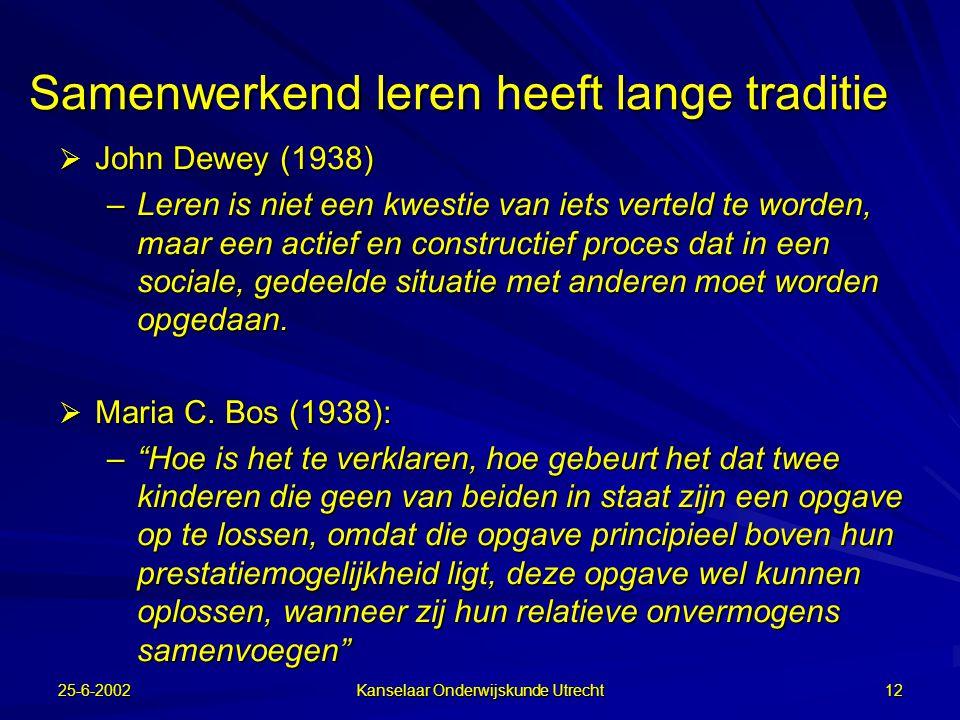 25-6-2002 Kanselaar Onderwijskunde Utrecht 11 Centrale vragen: Hoe komt het dat leerlingen leren van samenwerkend leren?  Welke processen spelen daar