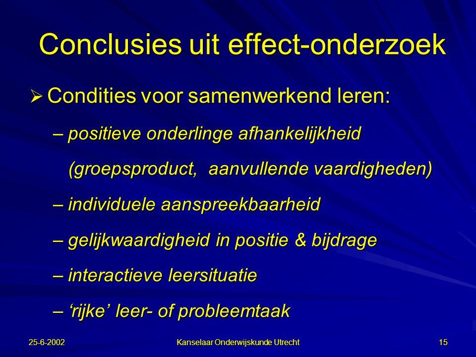 25-6-2002 Kanselaar Onderwijskunde Utrecht 14 Grote interesse jaren 70 en begin jaren 80 (vooral in USA, Israël & Nederland)  Veel effect-onderzoek n