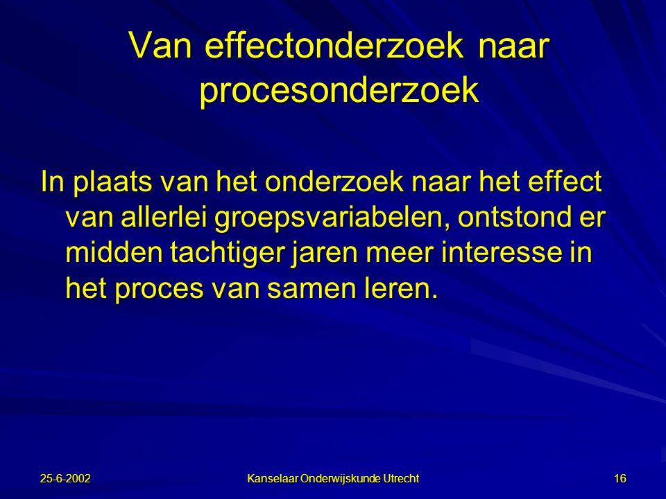 25-6-2002 Kanselaar Onderwijskunde Utrecht 15 Conclusies uit effect-onderzoek  Condities voor samenwerkend leren: –positieve onderlinge afhankelijkhe