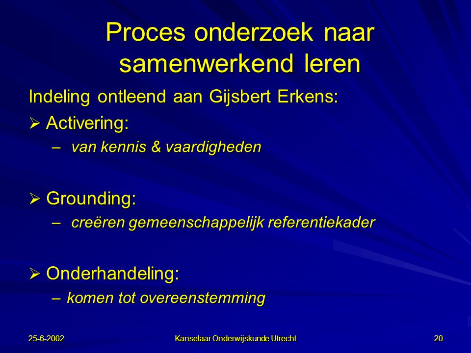 25-6-2002 Kanselaar Onderwijskunde Utrecht 19 computer supported collaborative learning CSCL = ICT + samenwerkend leren  distributed cognition  comm