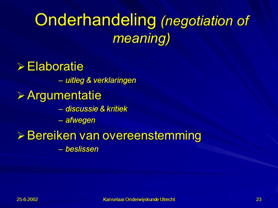25-6-2002 Kanselaar Onderwijskunde Utrecht 22 Grounding (creëren van gemeenschappelijk referentiekader)  Tuning –afstemming op het niveau van de ande