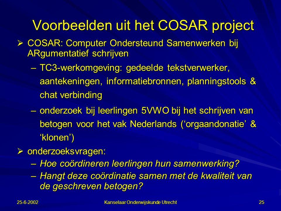 25-6-2002 Kanselaar Onderwijskunde Utrecht 24 Coördinatie  Centraal staat de wijze waarop leerlingen in het samenwerkingsproces hun activiteiten coördineren op drie niveaus:  taakinhoudelijk  metacognitief  sociaal-communicatief