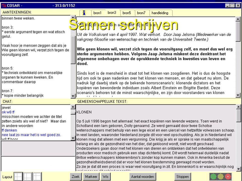 25-6-2002 Kanselaar Onderwijskunde Utrecht 25 Voorbeelden uit het COSAR project  COSAR: Computer Ondersteund Samenwerken bij ARgumentatief schrijven –TC3-werkomgeving: gedeelde tekstverwerker, aantekeningen, informatiebronnen, planningstools & chat verbinding –onderzoek bij leerlingen 5VWO bij het schrijven van betogen voor het vak Nederlands ('orgaandonatie' & 'klonen')  onderzoeksvragen: –Hoe coördineren leerlingen hun samenwerking.