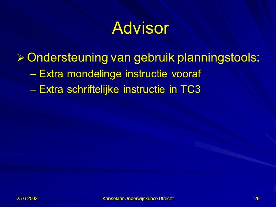 25-6-2002 Kanselaar Onderwijskunde Utrecht 28 Outliner
