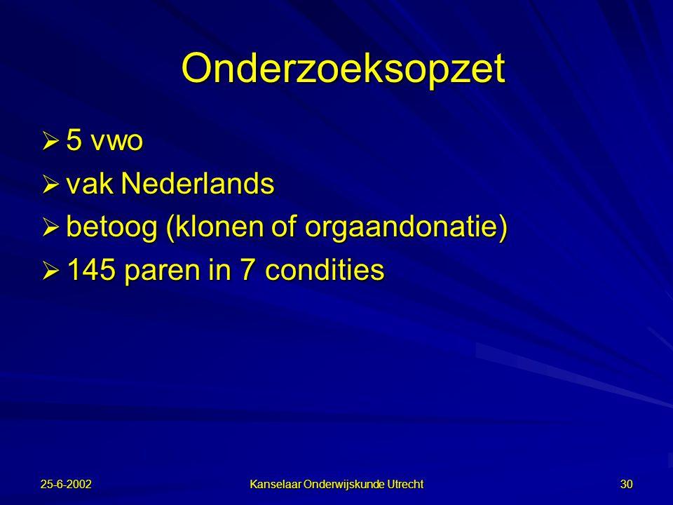 25-6-2002 Kanselaar Onderwijskunde Utrecht 29 Advisor  Ondersteuning van gebruik planningstools: –Extra mondelinge instructie vooraf –Extra schriftelijke instructie in TC3