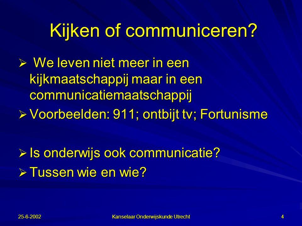 """25-6-2002 Kanselaar Onderwijskunde Utrecht 3 Balie 2 A. v. Es: """"De tweede groep scoorde beter. Een verklaring zou kunnen zijn dat kinderen van deze ge"""
