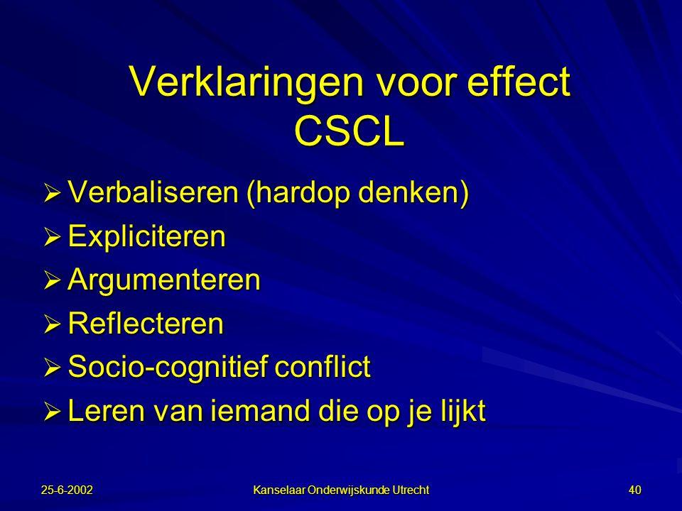 25-6-2002 Kanselaar Onderwijskunde Utrecht 39 Algemene conclusie  Tools helpen niet vanzelf: –functionaliteit niet optimaal? –leerlingen moeten leren