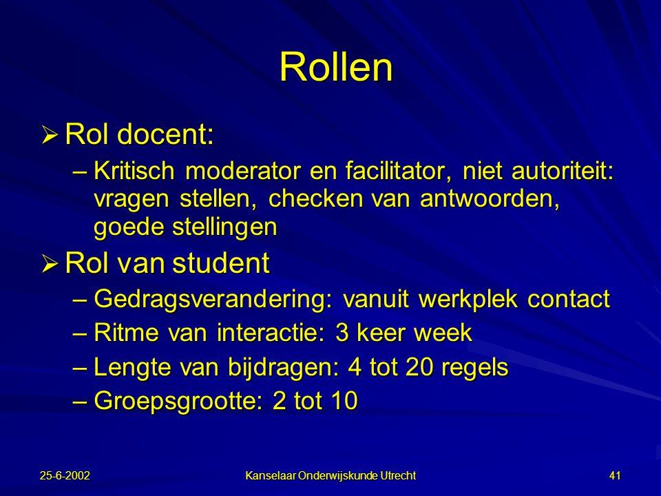 25-6-2002 Kanselaar Onderwijskunde Utrecht 40 Verklaringen voor effect CSCL  Verbaliseren (hardop denken)  Expliciteren  Argumenteren  Reflecteren  Socio-cognitief conflict  Leren van iemand die op je lijkt