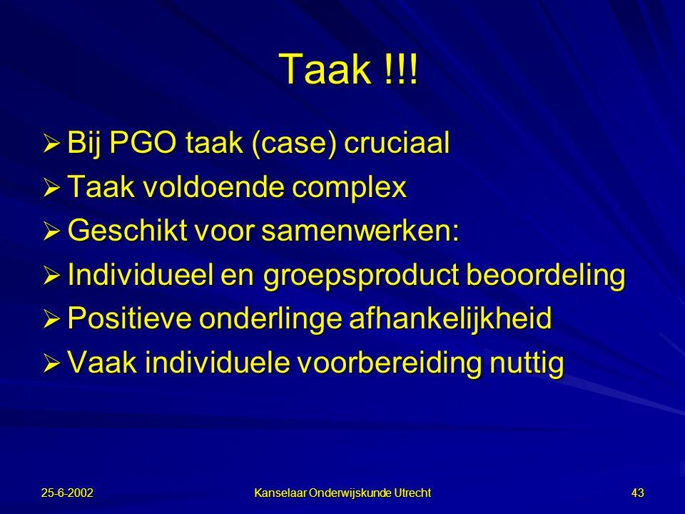 25-6-2002 Kanselaar Onderwijskunde Utrecht 42 Student  Weinig relatie met overall leerstijl  Hoog op diepteverwerking dan meer kennisconstructie  Positief t.a.v.