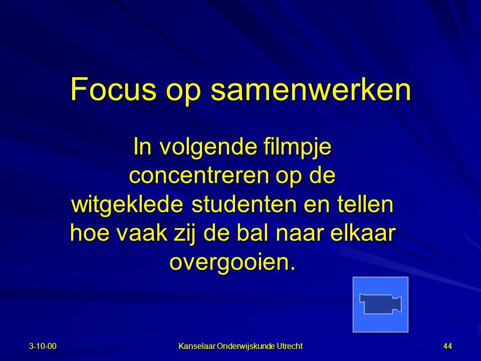 25-6-2002 Kanselaar Onderwijskunde Utrecht 43 Taak !!!  Bij PGO taak (case) cruciaal  Taak voldoende complex  Geschikt voor samenwerken:  Individu