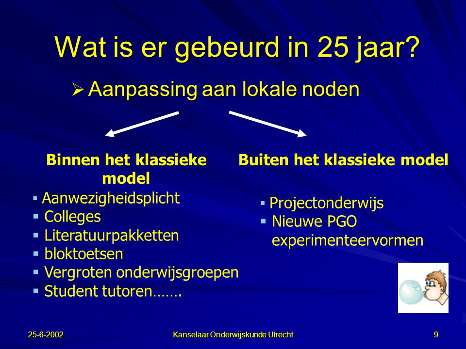25-6-2002 Kanselaar Onderwijskunde Utrecht 8 Wat is er gebeurd?  Eén model werd opgelegd op alle disciplines Er bestond ook niet meer dan één model S