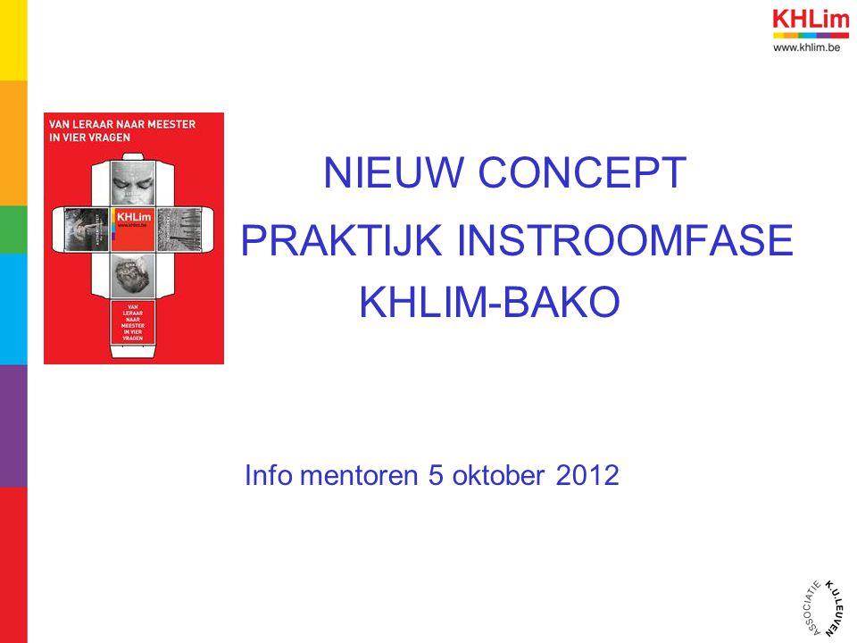NIEUW CONCEPT PRAKTIJK INSTROOMFASE KHLIM-BAKO Info mentoren 5 oktober 2012